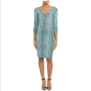 BCBG MaxAzria Tori Aqua Animal Print Fitted Dress